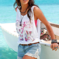 Sleeveless Tank Top Retro Print T-Shirt B0015220