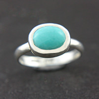 Sleeping Beauty Turquoise Ring Sterling Silver by ManariDesign