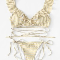 Striped Ruffle Bikini Set