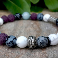 Men's Beaded Mala Bracelet, Men's Jewelry, Gemstone Bracelet, Mala Yoga Bracelet, Sterling Silver Bracelet, Gift For Men, Man Jewelry