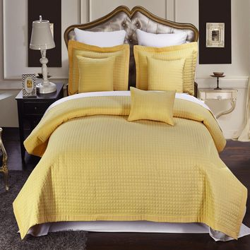 Luxury Gold Checkered Quilted Wrinkle Free Microfiber Multi-Piece Coverlets Set
