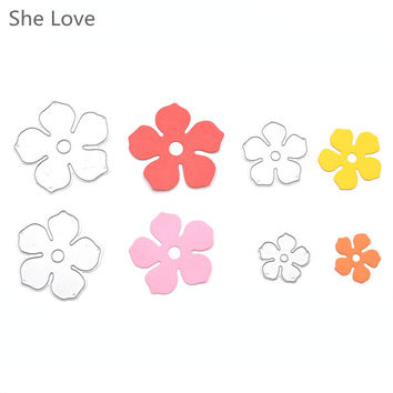 She Love 4pcs Metal Flowers DIY Cutting Dies Die Cut Stencil Decorative Scrapbooking Craft