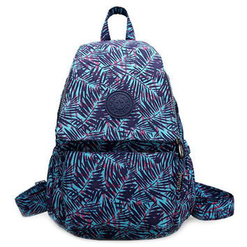 Bamboo Leaf Print Zippers Colour Block Backpack