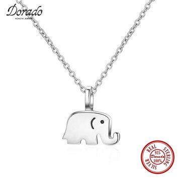 Dorado 2017 Pure 925 Sterling Silver Jewelry Simple Exquisite Elephant Pendant Necklaces for Women Daily Wear