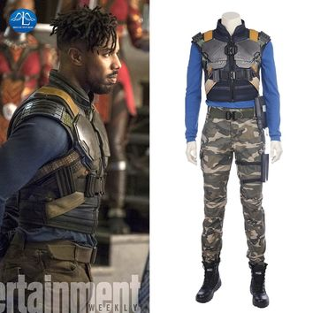 MANLUYUNXIAO New Movie Black Panther Costume Erik Killmonger Cosplay Costume Halloween Costumes For Men Full Set Custom Made