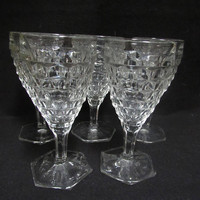 Pressed Glass Wine Glasses, Water Goblets,  Stemware, Barware, Set of 5   (1524)