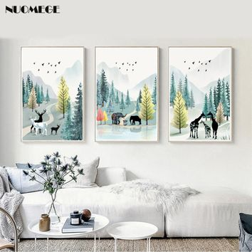 Modern Simple Poster Nordic Nature Watercolor Landscape Canvas Painting  Animals Wall Art  Picture for Living Room Home Decor
