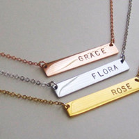 Initial Bar Necklace, Bridesmaid Gift, Anniversary Gift,Gold Initial Necklace, Handmade Jewelry, bar necklace, gift idea