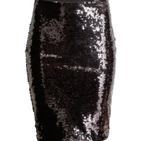 H&M - Sequined Skirt - Black - Ladies
