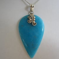 Blue Smithsonite Crystal Stone Sterling Silver Pendant