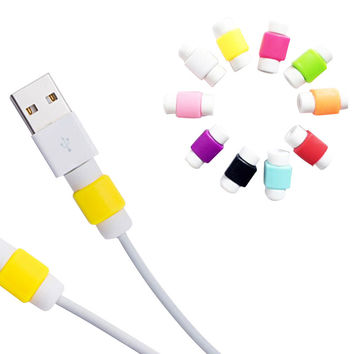 USB Cable Protector Cover Case For Apple Iphone 4 5 5s 6 7 Plus 6S Colorful Phone Charging line data cable Earphone Accessories