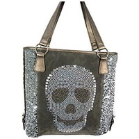 Fabulous! Boutique Style Rhinestone Sequin Skull Tote Purse Shoulder Bag (Pewter)