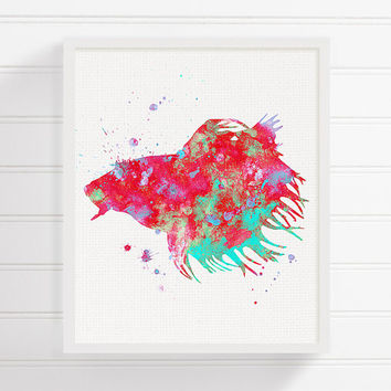 Betta Fish Art Print, Watercolor Betta Fish Painting, Siamese Fighting Fish, Aquarium, Fish Wall Art, Kids Room Decor, Nursery Wall Decor