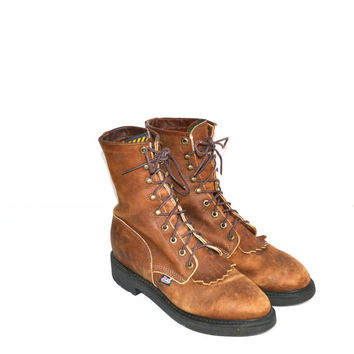 Vintage Leather Boots Ropers Lace Ups Men's Justin Boots Fringe Boots Country Western Boots Brown Leather Boots Size 8 1/2 D