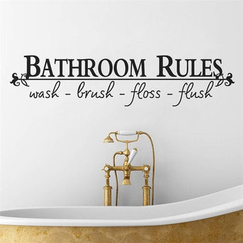 "Home Art Wall Quote Stickers ""Bathroom Rules"" Decoration Decals Vinyl Art Decor [7955843527]"