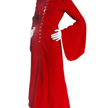 Beautiful Vintage 1970s Red Full Length Velvet Renaissance Style Dress | Bell Sleeves Medieval Costume Front Tie Lace Up
