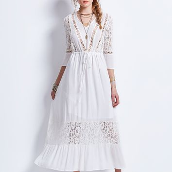 Chicloth White Drawstring Lace Patchwork Hollow Maxi Dress