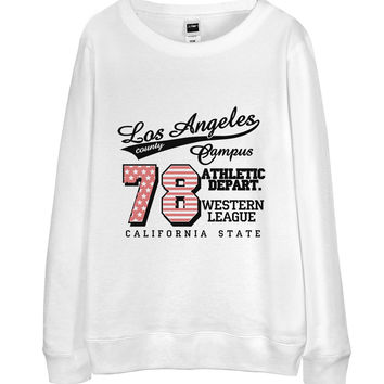 レディーススウェット【LA・ロサンゼルス・ロゴ】| Women Sweatshirt - Los Angeles Athletic Department Logo