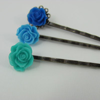 Ocean view resin flower bobby pins/Filigree/ antique bronze