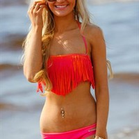 Hot Pink & Orange Fringed Bikini from Aleena's Boutique
