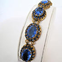 Blue Rhinestone Bracelet, Faceted Large Stones, Gold Links, Prong Set Rhinestones, 40's Bracelet