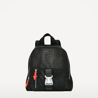 MESH BACKPACK WITH PULL-TAB DETAILDETAILS