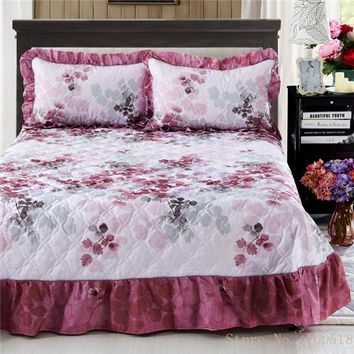 Deep Cherry Ruffled Luxury Quilted Bedspread