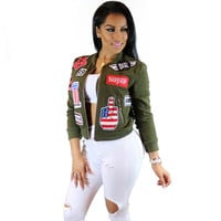 Women Basic Coats 2016 New Fall Printed Pockets Jaqueta Bomber Jacket Streetwear Gold Zipper Windbreaker Chaquetas Mujer Coat