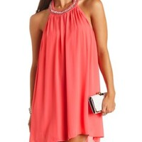 Embellished Chiffon Halter Shift Dress by Charlotte Russe - Hibiscus