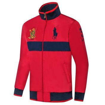 Polo Ralph Lauren 2018 autumn and winter new stand collar men's thin section windproof jacket Red