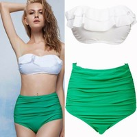 6854310 sexy green high waist swimwear by Luxedaze Bikini