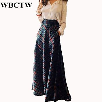 Maxi Skirt High Waist A-Line Style Autumn Winter Plaid Skirts XXS-7XL Plus Size Cotton Maxi Vintage 2017 Party Women Skirt