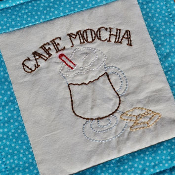 Coaster - Mug Rug - Cafe Mocha - Turquoise - Polka Dots -  Hand Stitched - Home Decor - Coffee