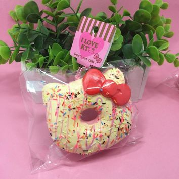 New 10Pcs/Lot 10CM Original Package Rare Jumbo White Donut Squishy Toys Hello Kitty Squishys Charm With Drizzles Sprinkles
