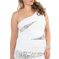 plus size one shoulder ivory club dress with sequin inserts - debshops.com