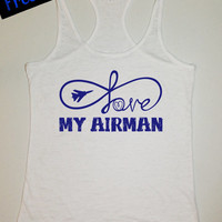 Love My Airman...Fitness Workout Tank...Military Air Force Burnout Racerback Tank Top...Little Miss Pride Workout Collection