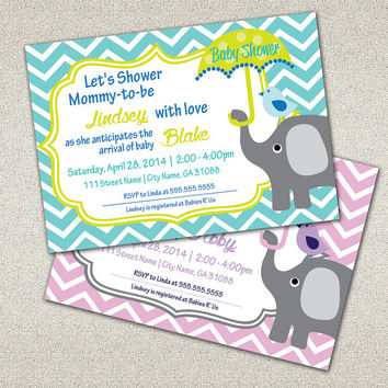 Baby Shower Invitation, Cute, Modern, Chic, Chevron Pattern, Elephant