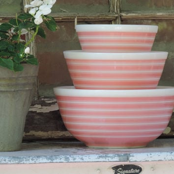 Vintage Pyrex Pink Striped Nesting Bowls Pyrex Rainbow Bowls Full Set of 3 Pyrex Ovenware Mixing Bowls