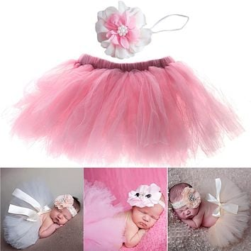 Baby Costume Outfits Set Newborn Photography Props Cute Sweet Infant Baby Skirt with Flower Headband Peacock Handmade Skirt