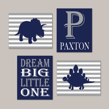 Dinosaur Nursery Decor Dream Big Little One Monogram Set of 4 Prints Or Canvas Navy Gray Nursery Big Boy Dinosaur Bedroom Dino Theme