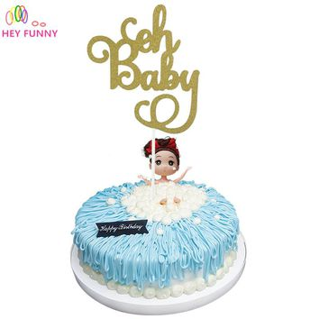 1pcs Gold Glitter Oh Baby Cake Topper Birthday It's a Girl/Boy Cake Toppers Kids Party baby shower Decorations decor