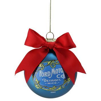 """2.75"""" Blue """"Ford Motor Co."""" Vintage-Style Logo Glass Ball Christmas Ornament"""
