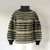Vintage Fair Isle Womens Sweater - Nordic Wool Gray and Yellow Turtleneck- Handmade in Norway - Size Small