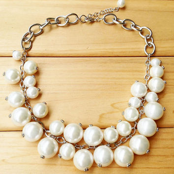 White Chunky Pearls Bib with Silver Chain,Large Pears Beaded Necklace,Gift for Her