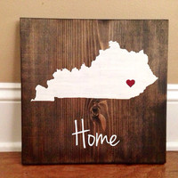 Kentucky Wood Sign, Custom Kentucky Sign, Stained and Hand Painted, Personalize, Kentucky decor