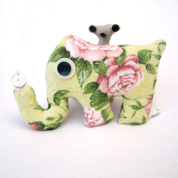 Floral Elephant Shelf Sitter - Unique Handmade Plush Stuffed Animal - Bubblafant - Reclaimed Yellow Rose Towel