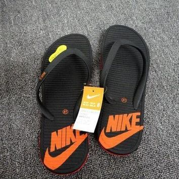 nike fashion letter casual slippers pinch flip flops flat shoes summer beach sandals