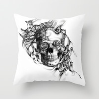 Butterfly smoke skull in black and white Throw Pillow by Kristy Patterson Design