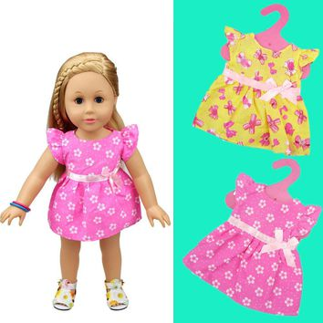 1 PC High Quality New Handmade Girls Little Doll Toy Miniskirt Clothes 18 inch Party Dress For 18 American dolls 4 Colors