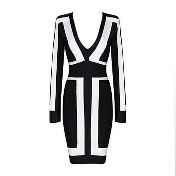 Women's Deep V Neck Black And White Long Sleeve Dress With Print